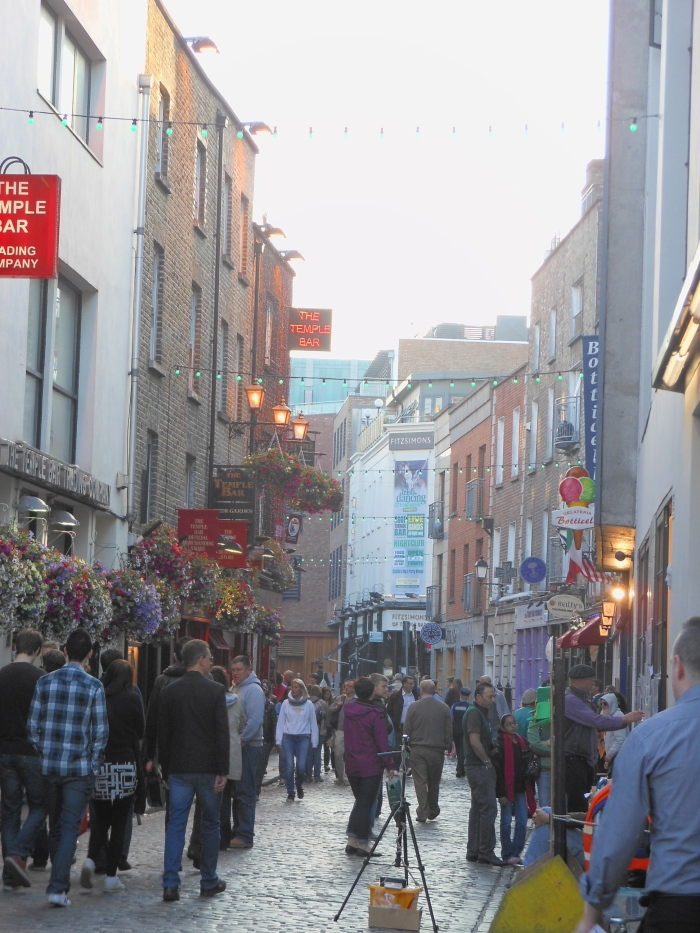 Enjoying the ambience of Temple Bar in Dublin.