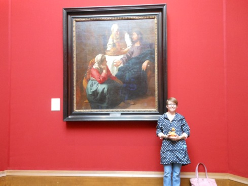 Stewart and I with Vermeer's Christ in the House of Martha and Mary at Scotland's National Gallery.