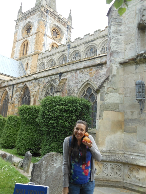 My new friend, Erika, with Stewart outside of the church where Shakespeare is buried.